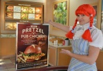 Wendy showing off the Pretzel Pub Chicken