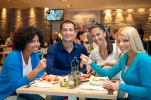 Group of Young Diners at Restaurant